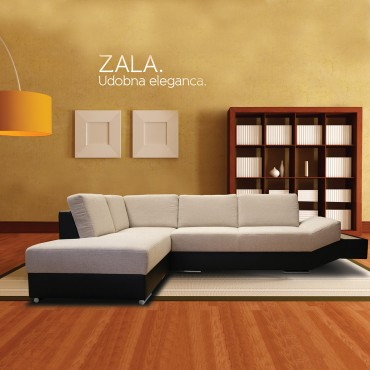 Zala is a modern sofa with sprung seat and high-quality elastic foam. Ottoman is wider, for comfortable lounging and with a handy shelve, everything is within the reach of your hand.